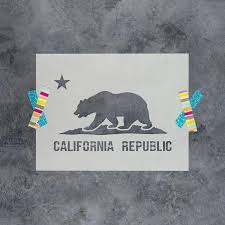 California Flag Stencil For Crafts Walls