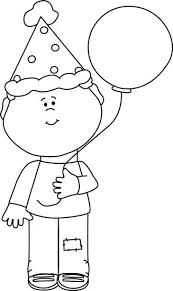 Boy with a hat black and white clipart