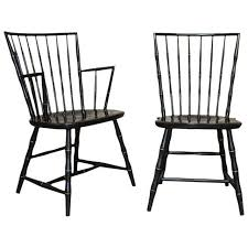 Nichols And Stone Windsor Rocking Chair by Pair Of Black Lacquer And Faux Bamboo Windsor Chairs By Nichols