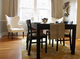 Elegance Yellow Dining Room Rug Decoration Under Dark Wooden Table Set As Well White Chair