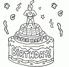 How Do You Draw A Birthday Cake Happy Birthday Cake For Kid Coloring Drawing Free Wallpaper