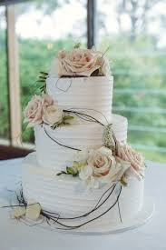 Wedding Cake 3 Tier White Icing Peach And Flowers Vine Roses Spring Elegant Rustic Classy Country Chic