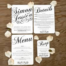 Black White Vintage Wedding Place Name Escort Card