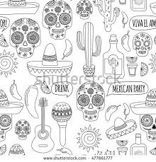 Adult Coloring Book Mexico Mexican Cuisine Food And Drinks Day Of The Dead Hello