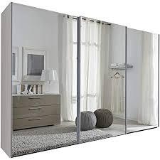schlafzimmer komet white mirror sliding door wardrobe 301cm wide german made bedroom furniture