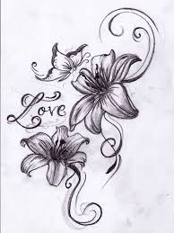 Butterfly Love Flowers Tattoo Design
