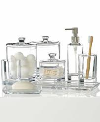 clear sea glass bathroom accessories with transparent look