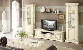 wohnzimmer set wohnwand media massivholz beige klassischer
