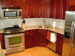 brown varnished wood kitchen island kitchens with cherry cabinets