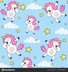 Vector Pattern With Cute Unicorns Clouds And Stars Magic Background Little Dabbing Funny Unicorn Dancing Dab Cartoon