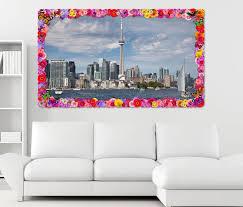 3d wandtattoo skyline toronto stadt kanada blumen rahmen wandbild wohnzimmer wand aufkleber 11l1310 3dwandtattoo24 de