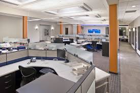 Office Workspace Contemporary Creative Design Come With Gray Wall Scheme Column Expose
