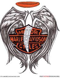 Harley Davidson Logo Tattoo Design With Wings And Halo
