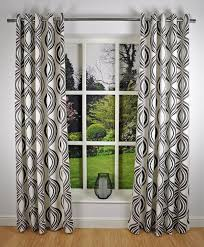 Geometric Pattern Curtains Canada by Retro Modern Geometric Print Readymade Lined Eyelet Curtains