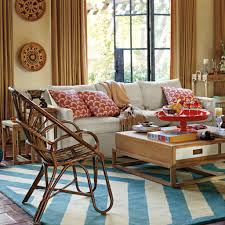 White And Blue Carpet With Wicker Chairs For Cozy Eclectic Living Room Decorating Ideas Pale Yellow Wall Color