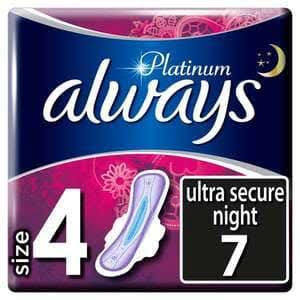 Always Platinum Secure Night Sanitary Pad - Size 4, 7ct