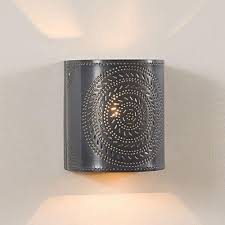 Punched Tin Lamp Shade Country by Punched Tin Sconce Lamp Handcrafted Chisel Pattern Wall Light In