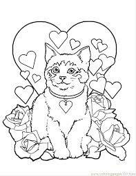 Dog And Cat Christmas Coloring Pages Colouring Free Valentine Pictures To