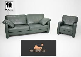 musterring designer 3er sofa sessel vintage grün leder