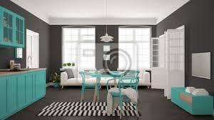 fototapete minimalistische moderne küche mit esstisch und wohnzimmer weiß