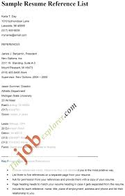 Photo Gallery Of The Resume Reference List Format