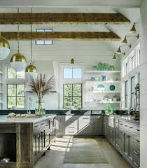 Farmhouse Kitchen With Vaulted Ceiling Exposed Beams Shiplap Walls Black