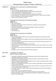 Information Technology Internship Resume Samples Velvet Jobs Examples S Full