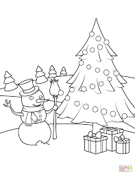 Related Coloring Pages Snowman Christmas Tree