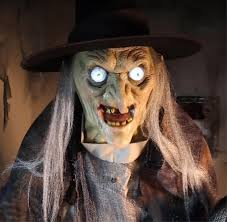 Spirit Halloween Animatronic Mask by Life Size Animated Standing Lunging Haggard Witch Halloween