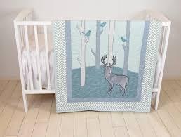 Mint Green Crib Bedding by Woodland Blanket Birch Tree Crib Quilt Personalized Deer Crib