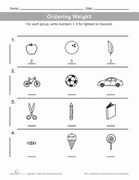 Kindergarten Math Worksheets Color Compare Ordering Weight