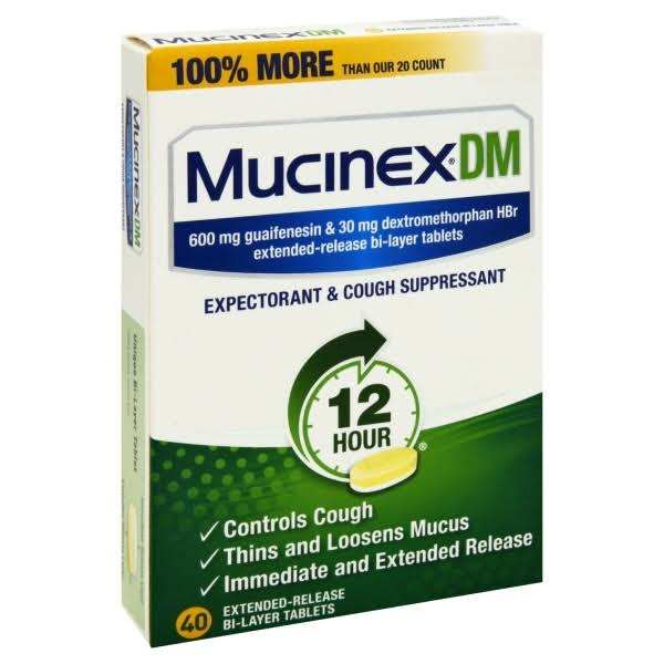 Mucinex Dm 12 Hour Expectorant & Cough Suppressant - 40 Extended-Release Bi-Layer Tablets