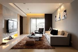 contemporary living room with white wall decor beige tiled floor