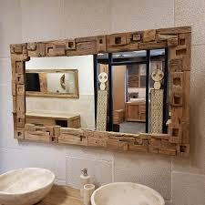 spiegel badezimmer flur teak altholz mit block
