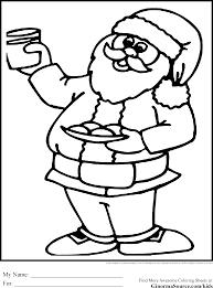 Free Printable Christmas coloring Pages Santa Milk and Cookies