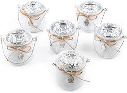 logbuch verlag 6 maritime teelichtgläser mit henkel weiß silber fisch deko badezimmer tischdeko taufe kommunion firmung
