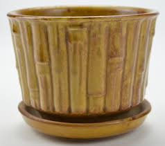 McCoy Beige Vintage and Collectible Pottery Bamboo Planter 0373
