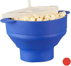 relaxdays popcorn maker silikon für mikrowelle zusammenfaltbarer popcorn popper zubereitung ohne öl bpa blau