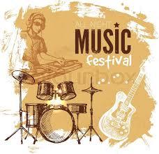 Music Vintage Background Splash Blob Retro Design Festival Poster Hand Drawn Sketch Vector Illustration