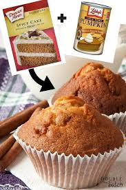 Cake Mix And Pumpkin by 2 Ingredient Pumpkin Muffins Pumpkin Spice Muffins Eye And Easy
