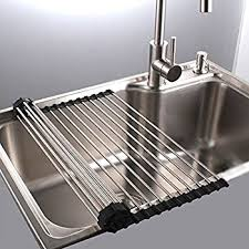 Stainless Steel Sink Grid Amazon by Amazon Com Roll Up Drying Rack Stainless Steel Foldable Over Sink