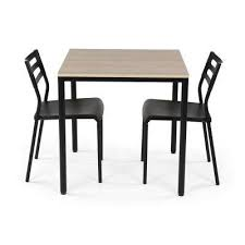 3 Piece Black And Grey Dining Set