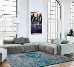 casa padrino wohnzimmer teppich grau türkis 200 x 280 cm luxus qualität