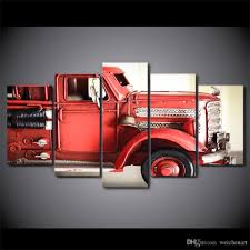 2018 HD Printed Canvas Art Fire Truck Red Vehicle Wall Pictures For ...