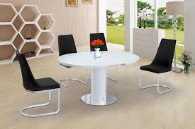 100 White Gloss Extending Dining Table And Chairs Annular Small Round Grey
