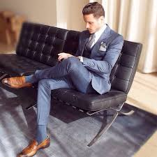 Blue Suit And Caramel Shoes All Business Wearing Suits Sitting On Barcelona Couches