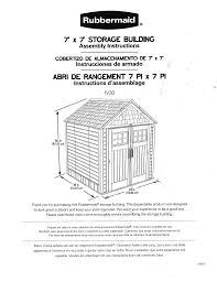 Rubbermaid Shed 7x7 Manual by Rubbermaid 1887154 Instructions Assembly
