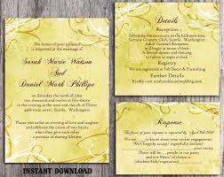 DIY Rustic Wedding Invitation Template Set Editable Word File Instant Download Printable Yellow Vintage Gold