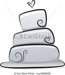 Wedding Cake In Black And White Vector