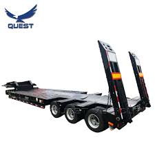 100 Truck Bed Ramp Hot Item 60 Ton Hydraulic Extendable Low Trailer